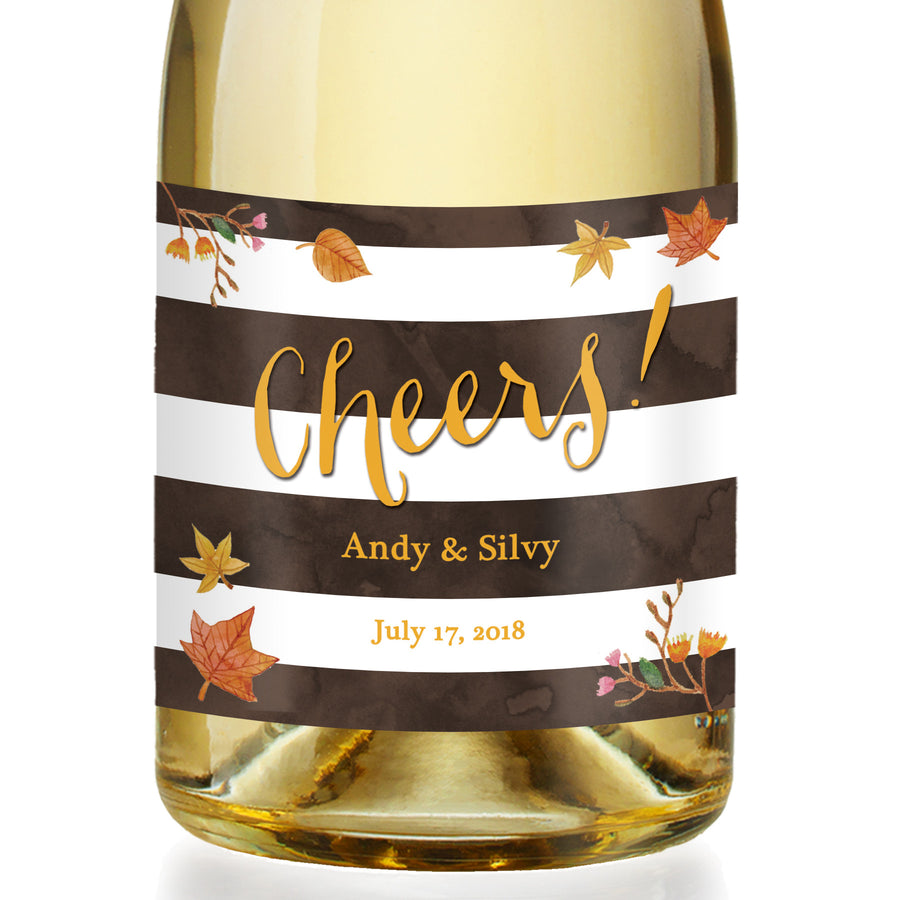 """Silvy"" Autumn Leaves Engagement Champagne Labels"