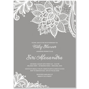 """Siri"" Lace + Gray Baby Shower Invitation"