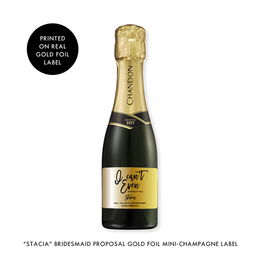 """Stacia"" Gold Foil Bridesmaid Proposal Mini-Champagne Label"