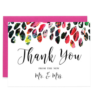 Newlywed Thank You Card Watercolor Mr & Mrs