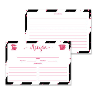 Glitter + Stripe Recipe Cards |  Stella Black Fuchsia