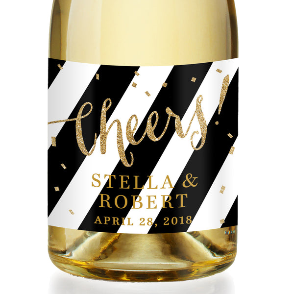 """Stella"" Black Stripe + Gold Engagement Champagne Labels"