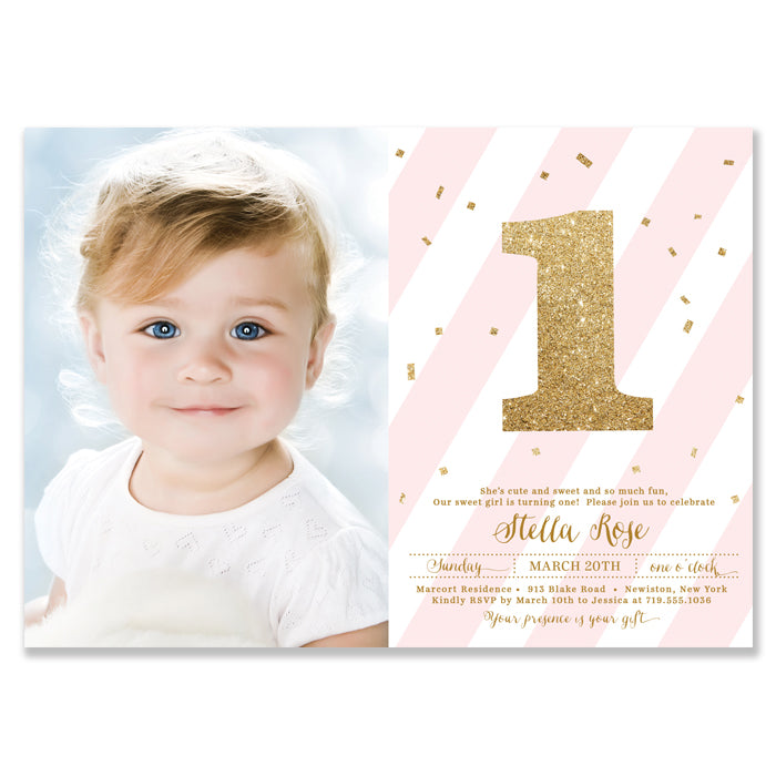 Girls First Birthday Party Invitation