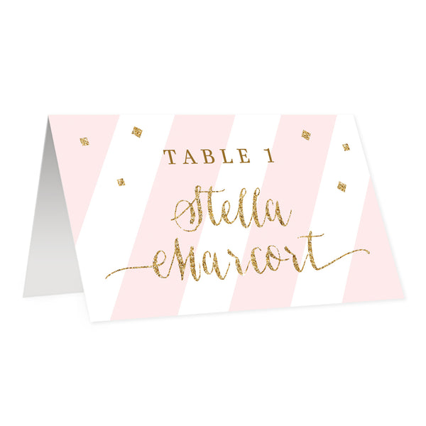 Blush Pink Place Cards with Gold Glitter | Stella