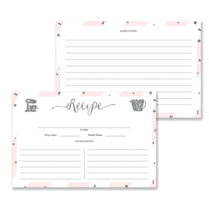 Blush Pink + Silver Glitter Recipe Cards | Stella