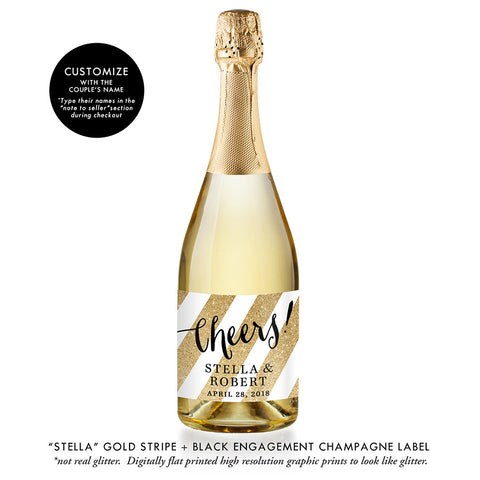 """Stella"" Gold Stripe + Black Engagement Champagne Labels"