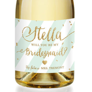 """Stella"" Mint Stripe + Gold Bridesmaid Proposal Champagne Labels"