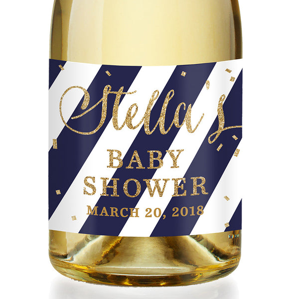 """Stella"" Navy Stripe + Gold Baby Shower Champagne Labels"