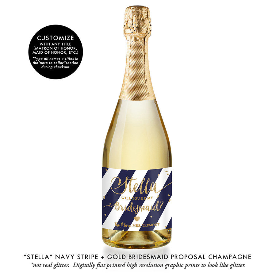 """Stella"" Navy Stripe + Gold Bridesmaid Proposal Champagne Labels"