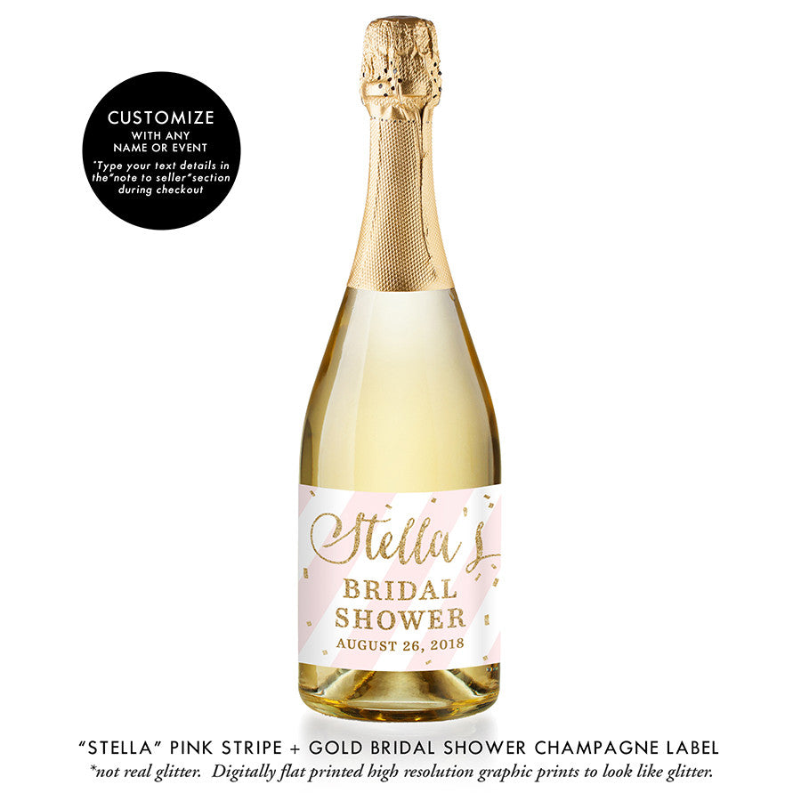 """Stella"" Pink Stripe + Gold Bridal Shower Champagne Labels"