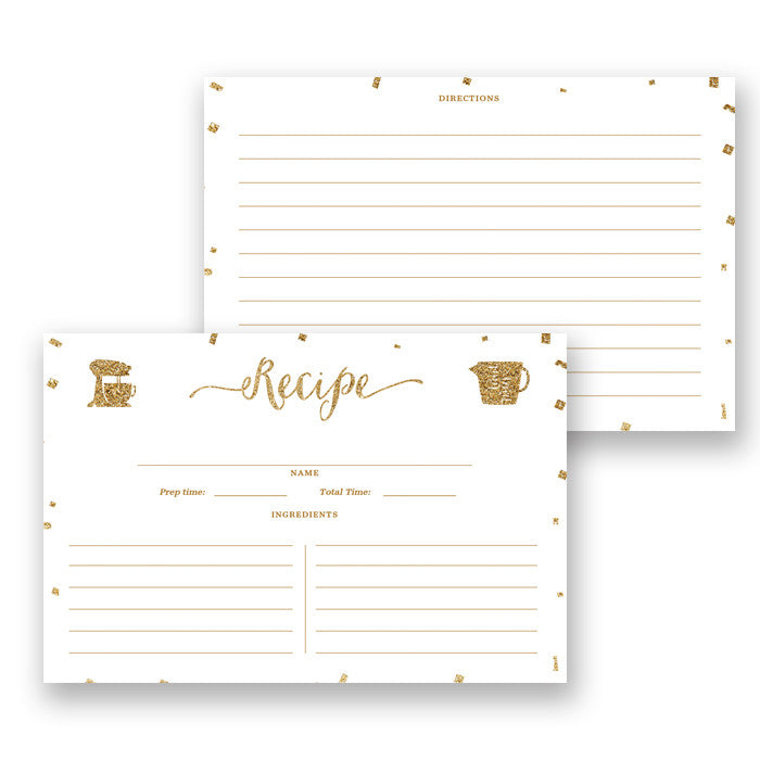 Glitter Recipe Cards |  Stella White