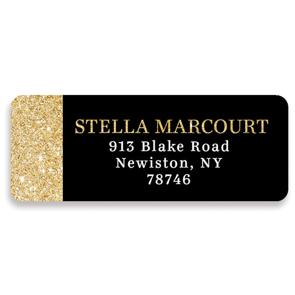 Black + Gold Glitter Address Labels | Stella