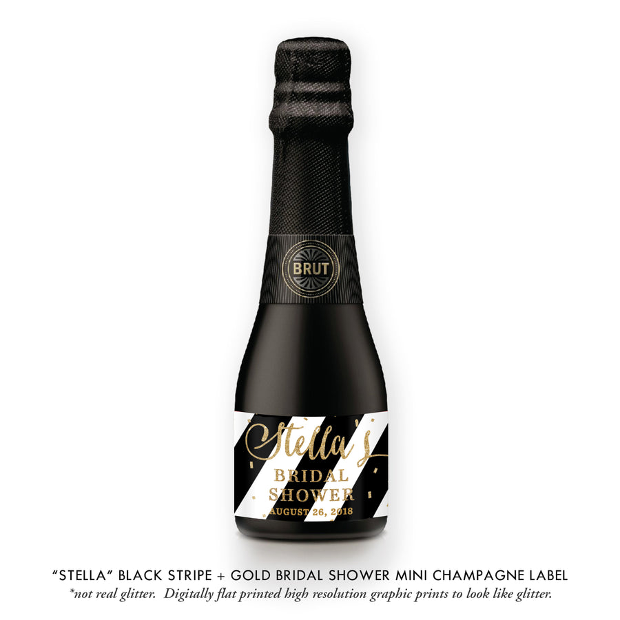 """Stella"" Black Stripe + Gold Bridal Shower Champagne Labels"