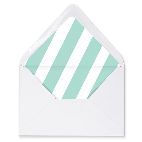 """Stella"" Blue Mint Stripe Envelope Liners"