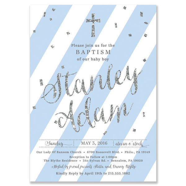 """Stella"" Blue + Silver Baptism Invitation"