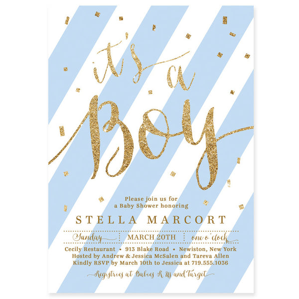 """Stella"" Blue + Gold Glitter Baby Shower Invitation"