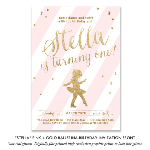 Baby Ballerina Birthday Invitation