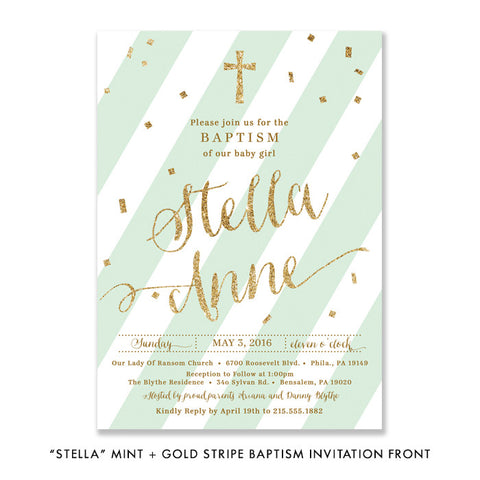 """Stella"" Mint + Gold Baptism Invitation"