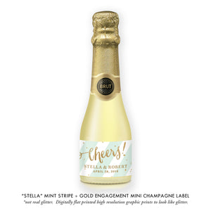 """Stella"" Mint Stripe + Gold Engagement Champagne Labels"