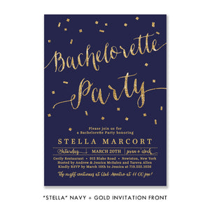 """Stella"" Navy + Gold Bachelorette Party Invitation"