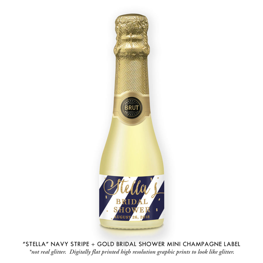 """Stella"" Navy Stripe + Gold Bridal Shower Champagne Labels"
