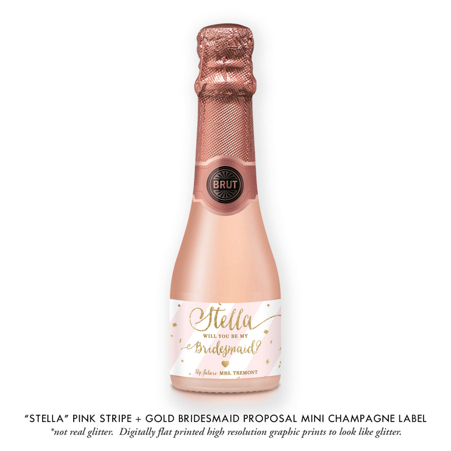 """Stella"" Pink Stripe + Gold Bridesmaid Proposal Champagne Labels"