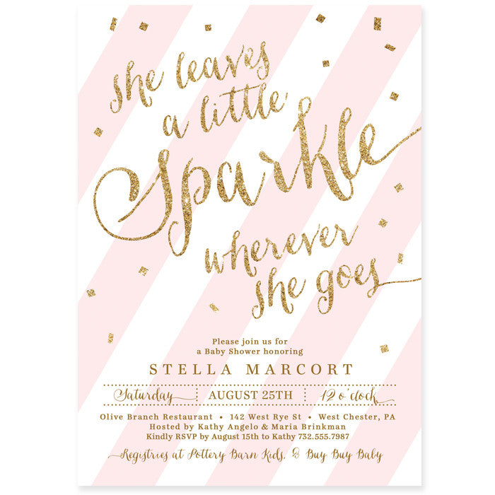 """Stella"" Pink + Gold Sparkle Baby Shower Invitation"