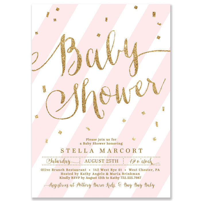 """Stella"" Pink + Gold Glitter Baby Shower Invitation"