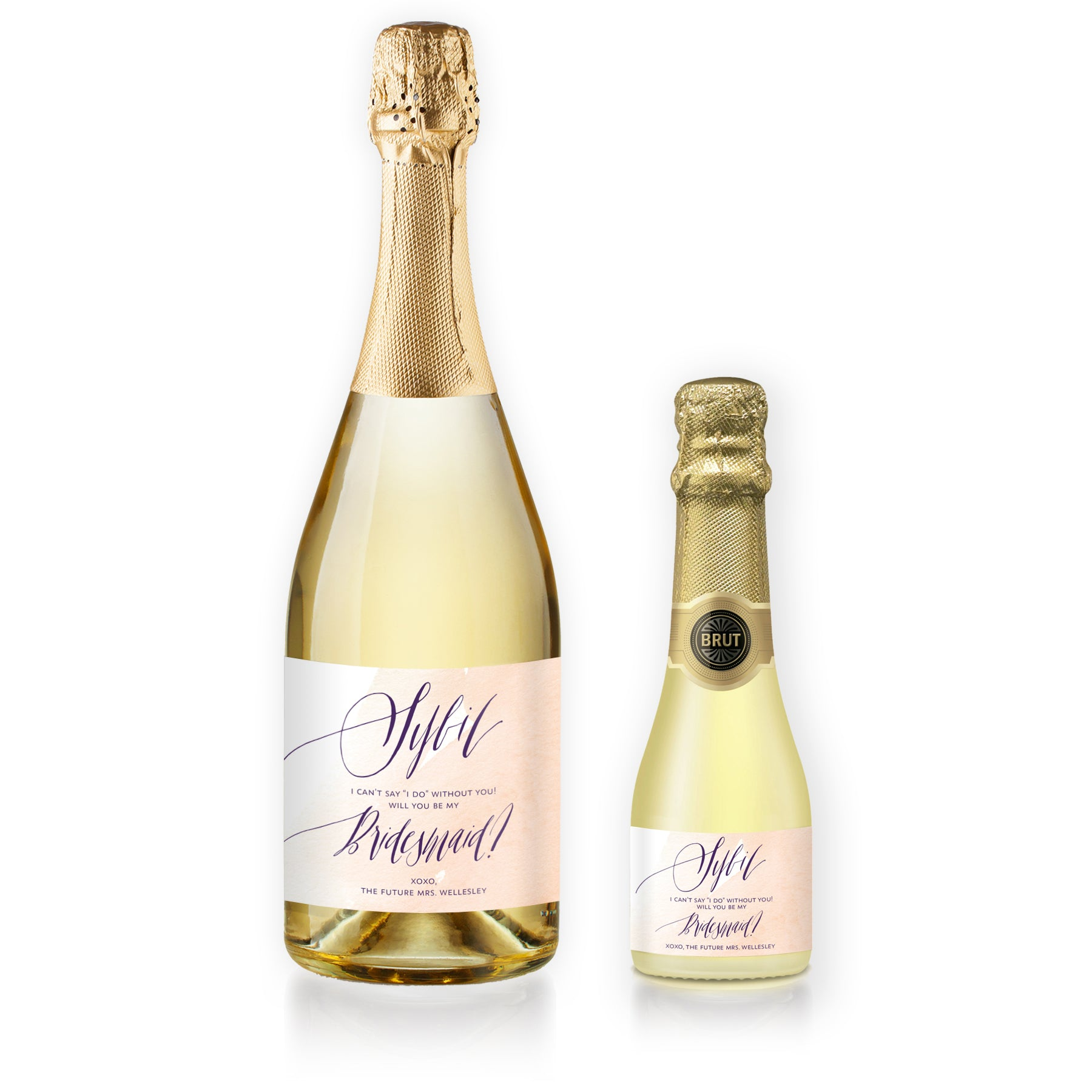 """Sybil"" Peach Watercolor Bridesmaid Proposal Champagne Labels"