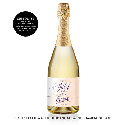 """Sybil"" Peach Watercolor Engagement Champagne Labels"
