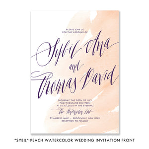 """Sybil"" Peach Watercolor Wedding Invitation"
