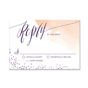 """Sybil"" Peach Watercolor RSVP Card"