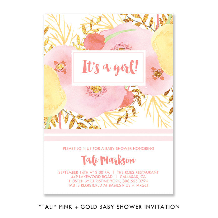 """Tali"" Pink + Gold Baby Shower Invitation"