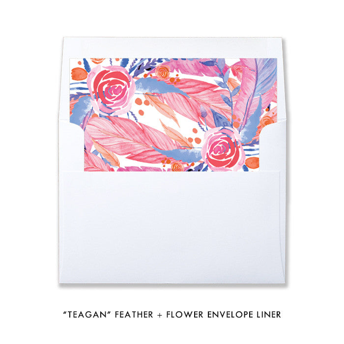 """Teagan"" Feather + Flower Baby Shower Invitation"