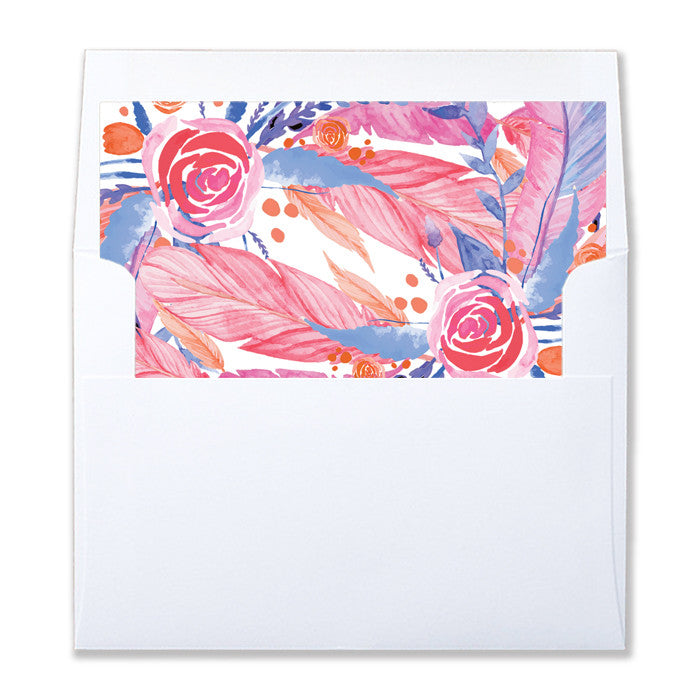 """Teagan"" Feather + Flower  Envelope Liners"
