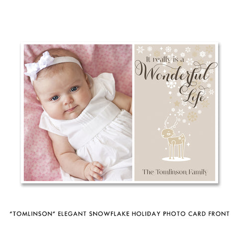 Elegant Snowflake Photo Holiday Card | Tomlinson