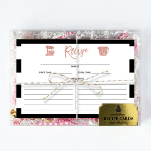 Blush Pink Glitter Recipe Cards Gift Set  |  Tory