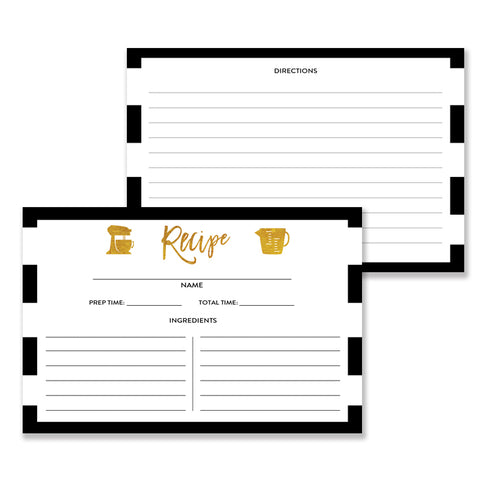Black White + Gold Recipe Cards | Tory