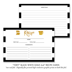 """Tory"" Black White & Gold Bridal Shower Invitation"