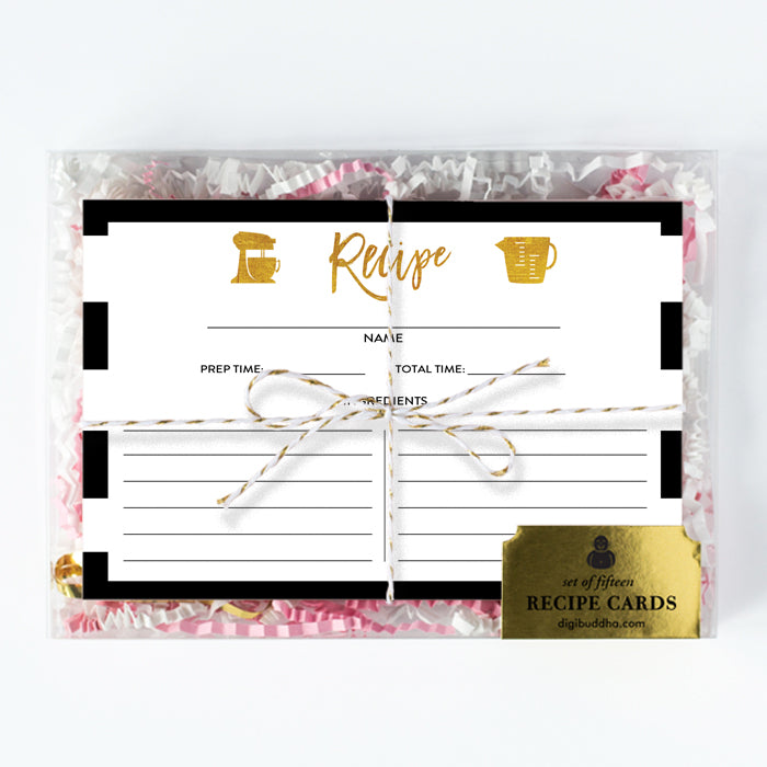 Black White + Gold Recipe Cards Gift Set  |  Tory