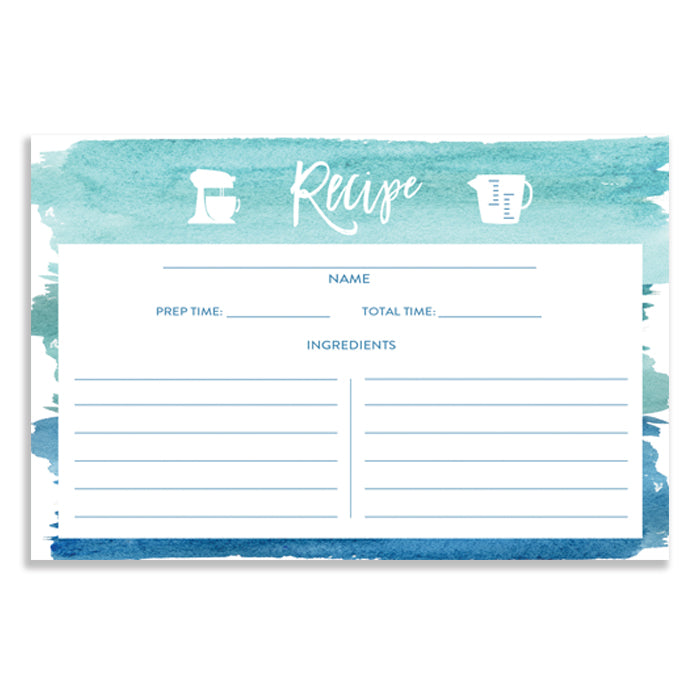 Turquoise Watercolor Recipe Cards Gift Set  |  Tory