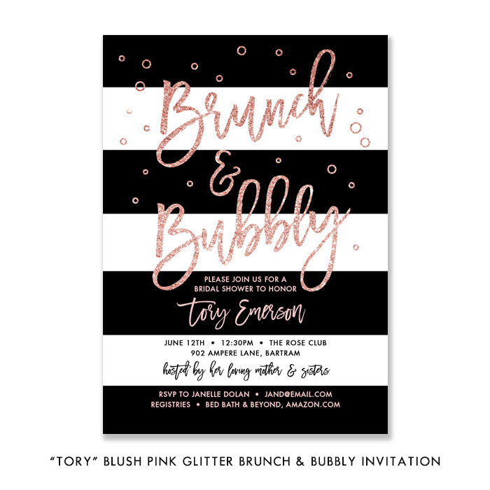 """Tory"" Blush Pink Glitter Brunch & Bubbly Invitation"