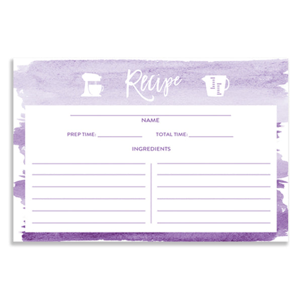 Purple Watercolor Recipe Cards Gift Set  |  Tory