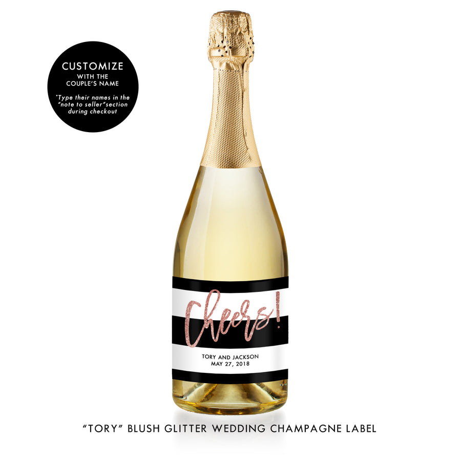 """Tory"" Blush Glitter Wedding Champagne Labels"