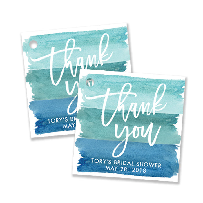 """Tory"" Turquoise Watercolor Bridal Shower Favor Tags"