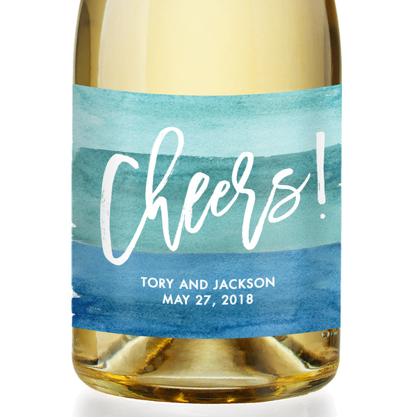 """Tory"" Turquoise Watercolor Wedding Champagne Labels"