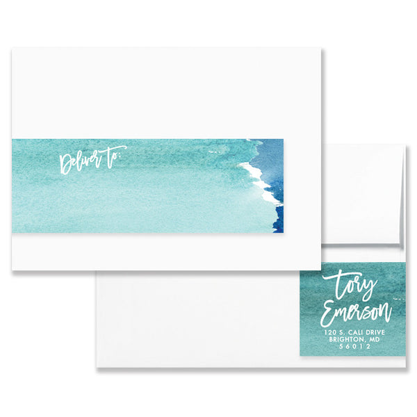 """Tory"" Turquoise Watercolor Envelope Wrap Address Labels"