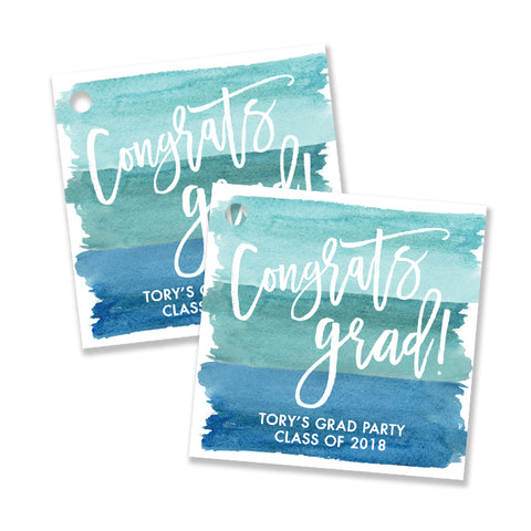 """Tory"" Turquoise Blue Watercolor Favor Tags"