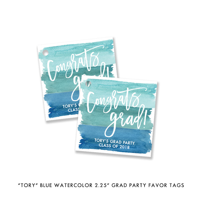 """Tory"" Turquoise Watercolor Graduation Party Invitation"