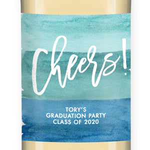 """Tory"" Turquoise Watercolor Graduation Wine Labels"
